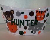 Personalized Easter Basket , Oval Easter Tub, Storage Bucket with Zoo Animal Theme