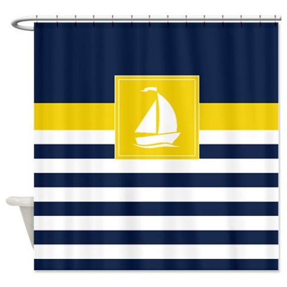 Navy Blue And Yellow Curtains: Nautical Shower Curtain-Preppy Stripes With Sailboat Navy