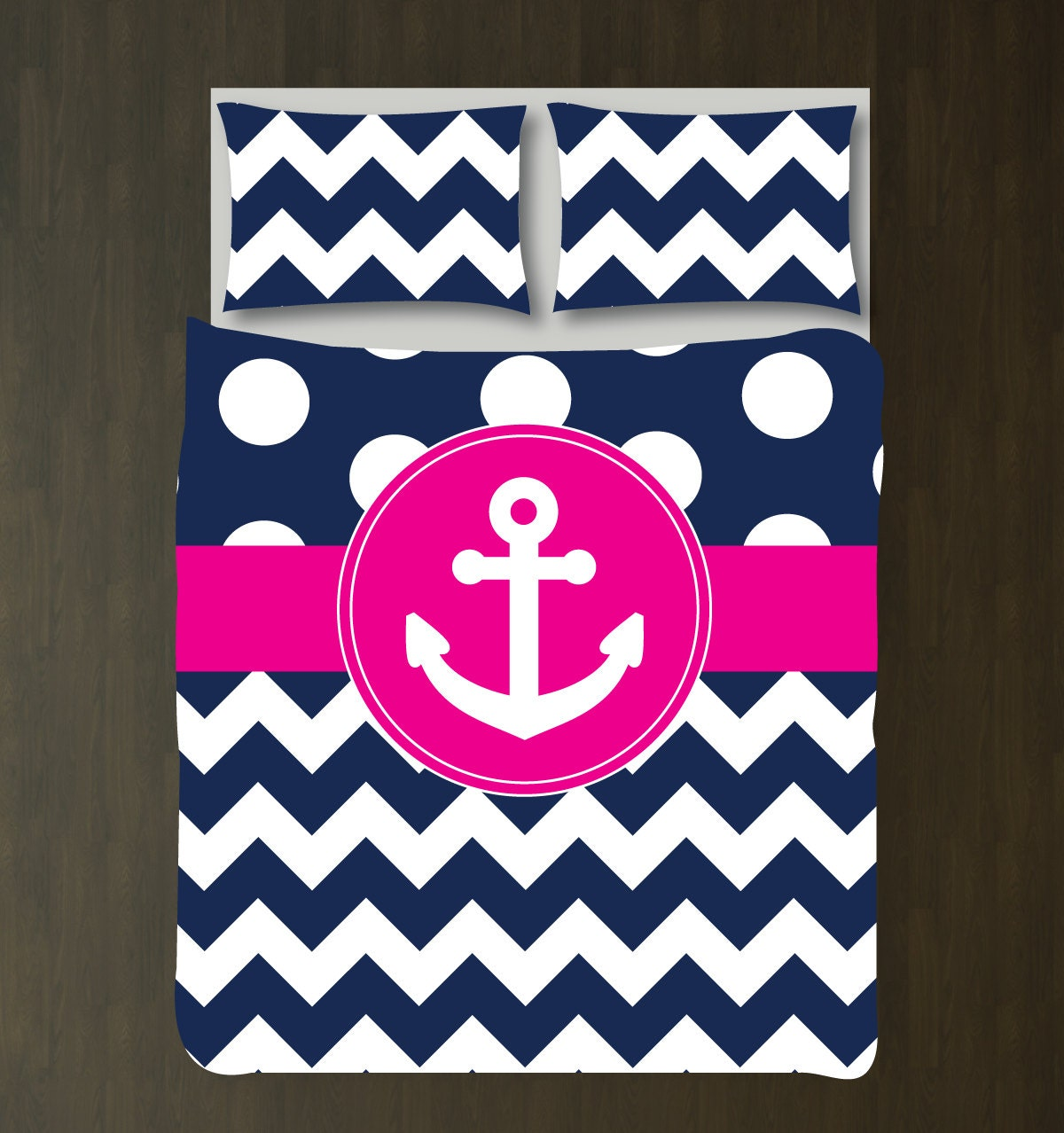 custom nautical duvet bedding set-navy blue-white polka dots &