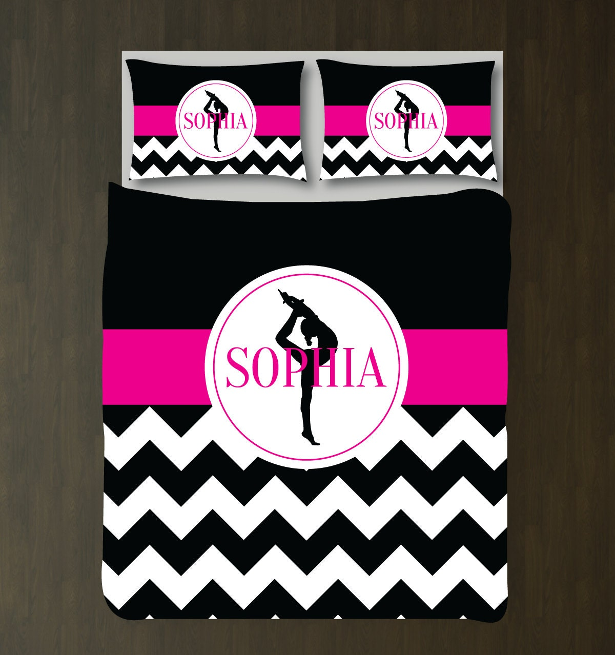 Gymnastics Bedding Set Monogrammed Name Duvet