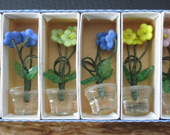 6--Antique  Czechoslovakia--Glass Bead--Crystal Place Card Holders--Tiny Flower Vases in original box - estate find!