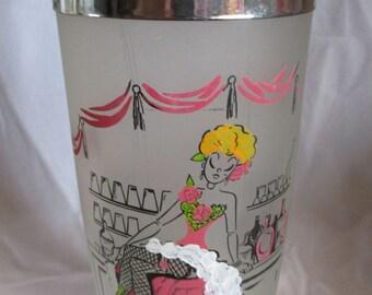 Vintage, retro  1950 Barbershop Quartet and Barmaid Can Can Dancer Martini Shaker!