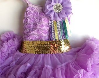 Full and Fluffy Chiffon pettidress and Sequin Sash
