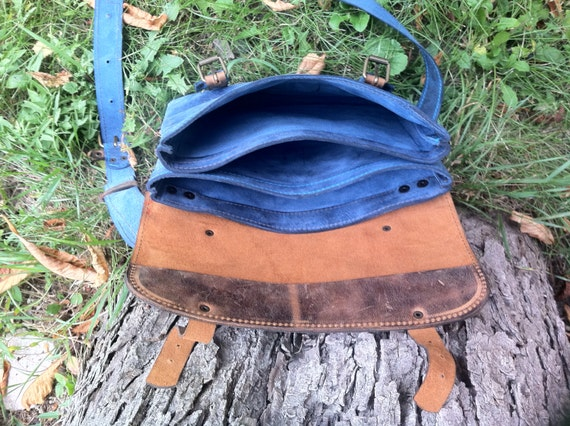 Blue Summer IPad Briefcase, 13' laptop bag, School Bag, Full grain Leather Briefcase, Handmade IPad Bag, IPad sleeve, Tablet Bag,