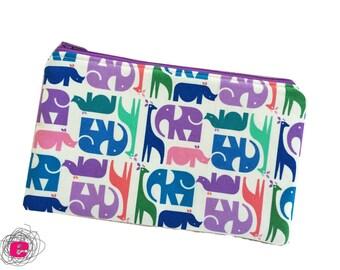 Pencil case elephants, XL zipper pouch zoo