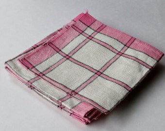 Pink and Gray Plaid Linen Napkins - Set of 6