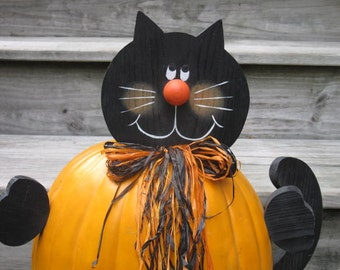 Wooden Cat that goes in a Pumpkin