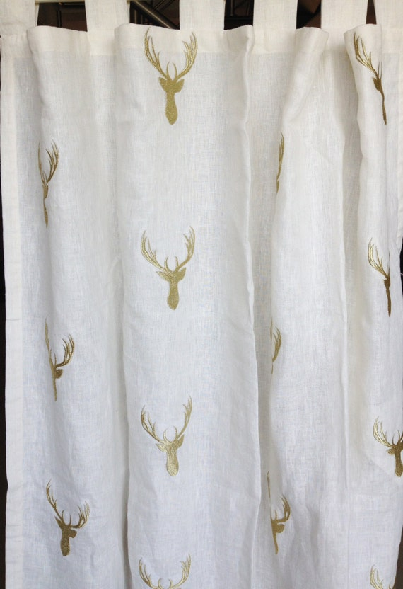 white curtains deer curtains ivory gold curtains christmas. Black Bedroom Furniture Sets. Home Design Ideas