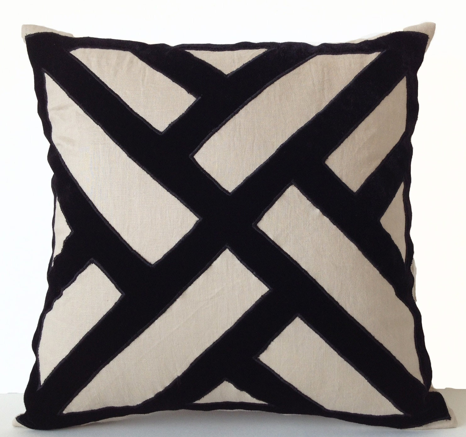 grey linen black velvet applique pillow cover geometric - 🔎zoom