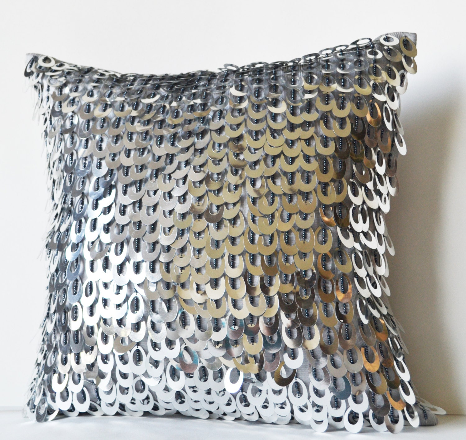 Large Silver Throw Pillow : Decorative Throw Pillow Cover with Metallic Sequins Beads