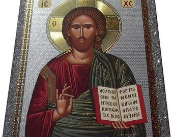 Jesus Christ - Orthodox Byzantine icon - Gilded Silver Plated icon on wood (30cm x 22.2cm)