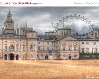 """London Photography - view of St. James Palace with the London Eye, beige, London wall prints, London wall art, travel wall decor -- """"Time"""""""