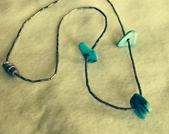 Vintage sterling silver necklace with 3 turquoise stones