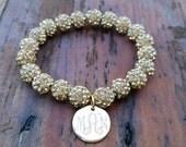 Monogrammed Crystal Pave Bead Bracelet - Shamballa Beads, Stacking Bangles, Personalized Jewelry, Mom Jewelry