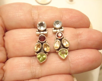 Vintage Multi Gemstone Sterling Articulated Pierced Earrings