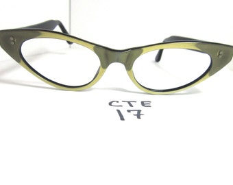 Authentic Vintage Small Fit 1950s/60s Cat Eye Eyeglass Frames Camouflage (CTE-17)
