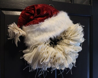 Burlap Ragged Santa Wreath