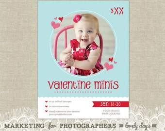 Valentines Day Mini Session Marketing Board Template for Photographers INSTANT DOWNLOAD