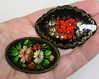 Two Different Vintage Brooches of Black Plastic w HP Flowers 1960s