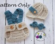 Crochet PATTERN - Newborn Newsboy set Photo Prop Set -Instant Download PDF - Photography Prop Pattern