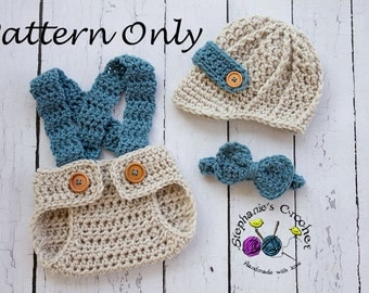 Crochet PATTERN - Newborn Newsboy set Photo Prop Set -Instant Download PDF - Photography Prop Pattern