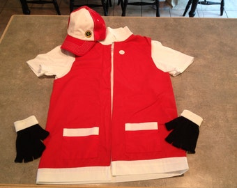 Men's 2XL  Pokemon Trainer RED Cosplay - 3 pc Costume - Jacket Gloves  Hat - Anime Ash Ketchum XXL
