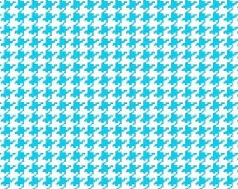 Turquoise Houndstooth Fabric --- 100 Percent Cotton --- Fabric By The Yard