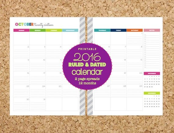 Printable 2016 Planner Pages | Calendar Template 2016