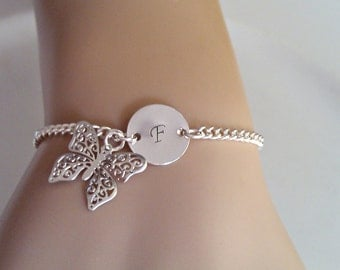 Silver Bracelet, Silver Butterfly Bracelet, Butterfly Bracelet, Initial Bracelet, British Seller UK, Bridesmaid Gifts, Gift for Girls, Mom