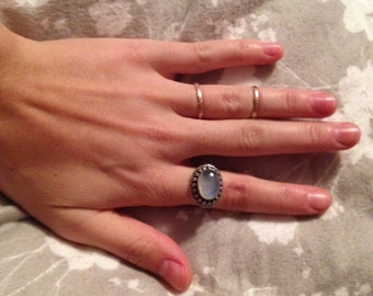 Sterling Silver Moonstone Ring. Size 7.