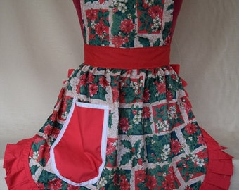 Retro Vintage 50s Style Full Apron / Pinny - Christmas Holly & Poinsettia With Red Trim