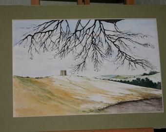 Lyme Park, Derbyshire in Winter - Snowscene Landscape Watercolour Painting - Countryside - Nature Lover - Fine Art
