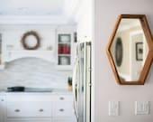 Flattened Hexagon Mirror in Reclaimed Douglas Fir