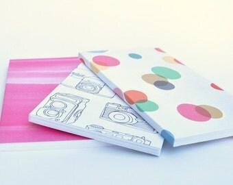 3 mini jotters, small blank notebooks, mini notebooks, little pocketbook, sketchbook, small sketchbooks, pink notebook
