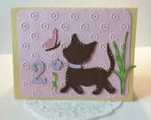 Two Year Old Kitty Cat Little Girl Birthday Card