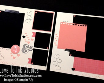 Love Premade Scrapbook Page 12x12 Layout