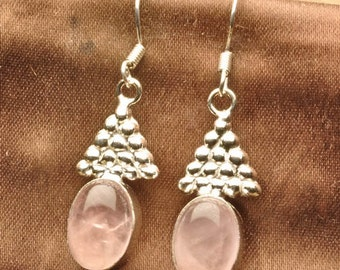 Beautiful Pink Rose Quartz Silver Earrings Perfect Gift