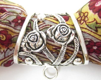 1pcs Scarf Bail Two Roses Vines 12x34mm-Hole-Oval-Angled Silver Plated (F1746)