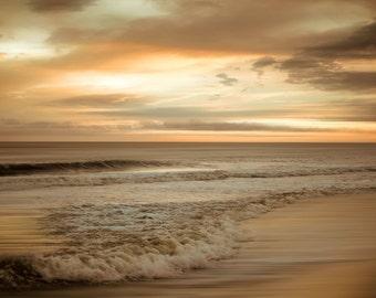 Beach Sunset - Beach Decor - Sunset Photography - Ocean Photography - Gold Decor - Moderen