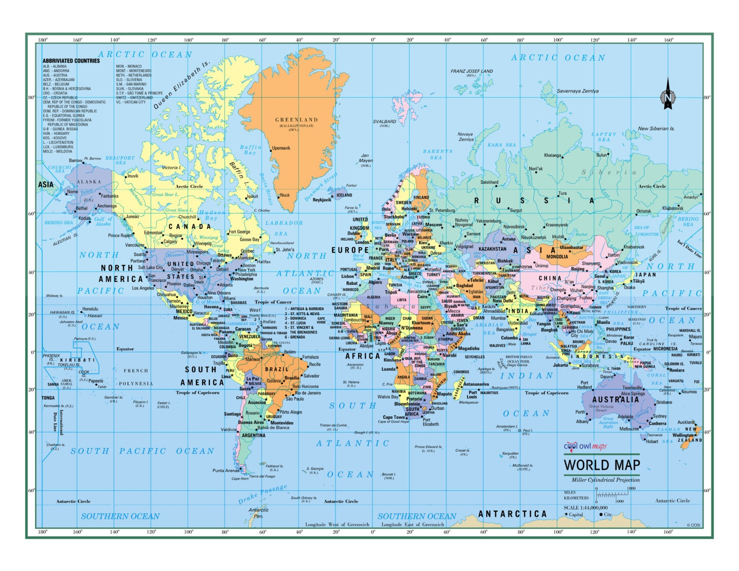 World wall map political poster 22x17 or zoom sciox Choice Image