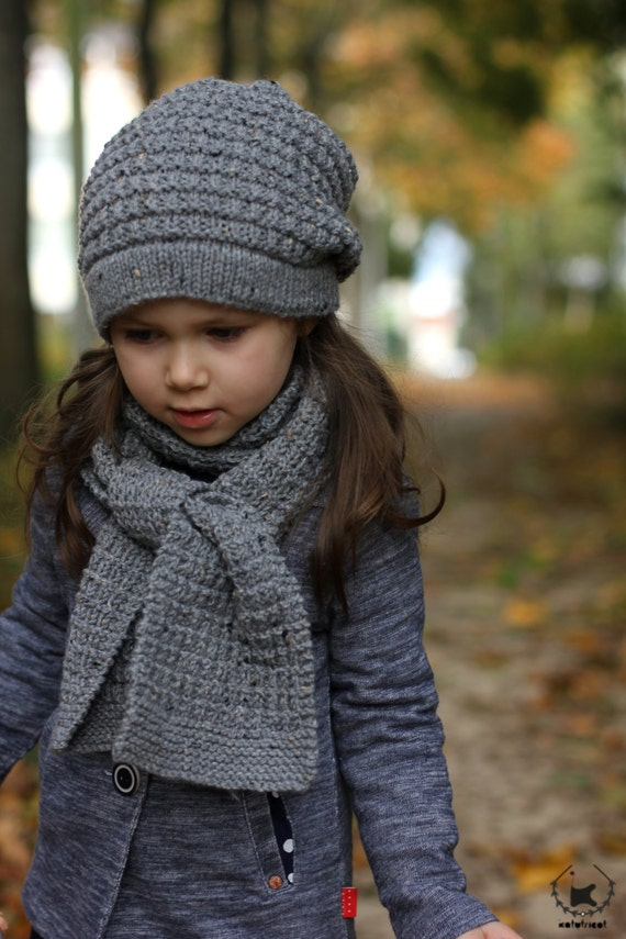 Slouchy Hat and Scarf HIVER Knitting Pattern (Toddler, Child, Adult sizes) - ...