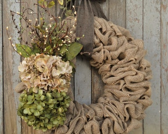 Earth Tone Hydrangea Wreath--Burlap Hydrangea Wreath--Grapevine Wreath--Rattan Wreath--Hydrangea Wreath--Spring Hydrangea Wreath
