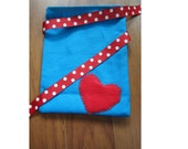 Red Heart on Blue Reusable Gift Fabric Bag with Polka Dot Ribbon Tie