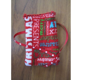 Merry Christmas Reusable Gift Wrap and Polka Dot Ribbon Tie