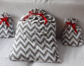 Christmas Gift Bag Gray and White Chevron Collection of 2 Small and 1 Santa Sack