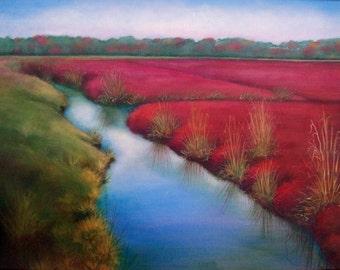 "Acrylic painting 16""x24"", ""Crimson Bogs"""