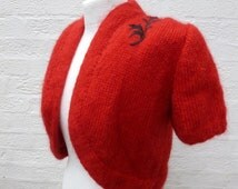 Womens shrug red bolero clothing 1980s top knit red vintage clothes handmade cardigan ladies mohair crop jacket vintage top knit red mohair.