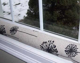 Window Snake - Door Snake - Window or DOOR DRAFT STOPPER - Draft Stopper - Designer - Linen - Denton - Black - Dandelion - Unfilled