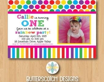 Rainbow Colorful Birthday Invitation - Printable/Digital File