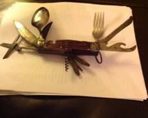 Knife Japan Scout Knife   Vintage 11 function multi knife Stamped Japan /    Antique. Bone handle